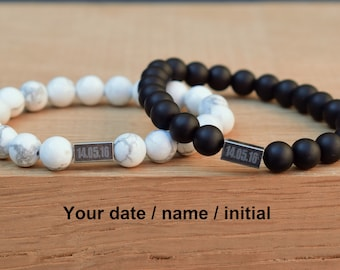 anniversary gift for boyfriend wedding date bracelet dating engraved couple bracelet personalized couple bracelet custom bracelet charms