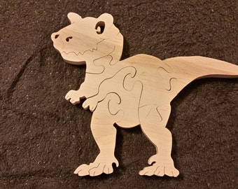 Wooden T-Rex puzzle which makes a nice dinosaur toy gift, cut with a scroll saw from non toxic wood