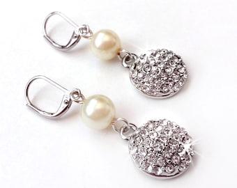 SALE! Rhinestone Encrusted Drop Earrings - Pearl and Rhinestone Earrings - Wedding Earrings - Bridesmaid Earrings