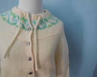Vintage WOOL SKI sweater cardigan SWEATER alpine sweater ski gear womens xs