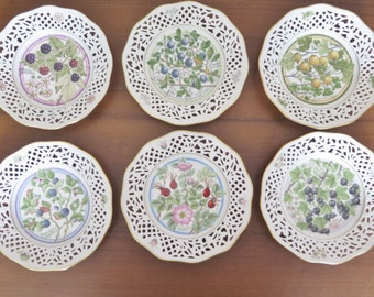 Vintage Schumann Arzberg German 'NORDIC BERRIES' illustrated by L.Helje, Set of 6 Reticulated Rim Plates Collectible @207