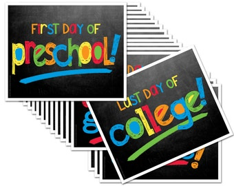 First Day & Last Day of School Photo Prop Deck of Signs - ENTIRE series Preschool thru College (16 grades), Fits any 8x10 Frame