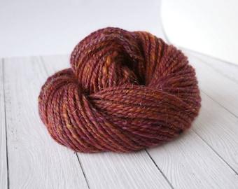 Handspun yarn bulky, bulky yarn, chunky yarn, merino silk yarn, yarn for weaving, knitting yarn, handdyed yarn, handspun glitter yarn