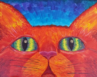 Orange Cat, acrylic painting, feline, eyes, contemporary, whimsical