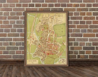 Vintage map of Oxford - Giclee fine print - A vintage map reproduction for home decoration
