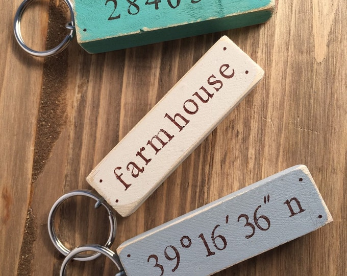 rustic cottage chic distressed custom keychain coordinates, address, name, zip code, housewarming gift, key chain, wood keychain, stamped