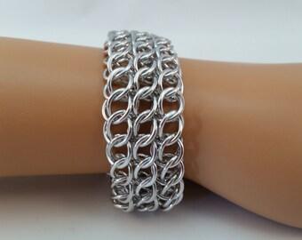 Half Persian 3 in 1 Sheet Chainmaille Bracelet, Chainmaille Bracelet, Chainmail Bracelet, Chain Maille Bracelet