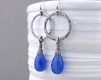 Statement Earrings Blue Stone Earrings Simple Silver Hoop Earrings for Women  Girlfriend Gift for Her Unique Silver Jewelry - Simple Hoops