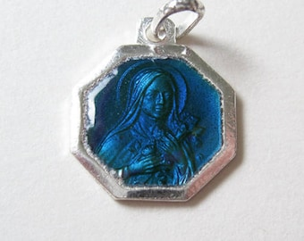 Vintage Blue Enamel St Therese Silver Medal M964