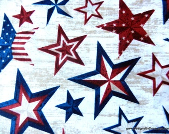 One Fat Quarter Cut Quilt Fabric, Patriotic, Americana Stars, Red & Blue Stars from Timeless Treasures, Sewing-Quilting-Craft Supplies