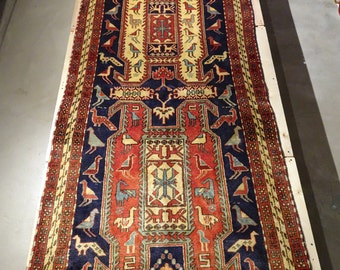 "Vintage Persian Rug 1950's MESHKIN 3' 9"" x 10' 2"" Handmade, Hand-knotted, Natural Dyes, Bohemian, Boho Chic, Made in Iran 918m"
