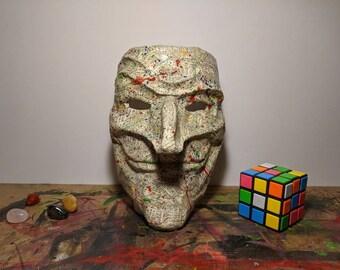 Paper Mache Mask Sculpture - Book Page / Paint Splat Finish