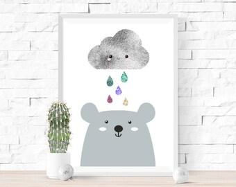 Happy Rain Cloud & Bear Print | Cute Kawaii Style | Faux Foil Effect | Glitter Rain Drops | Nursery Wall Art | Children's Room Decor Picture