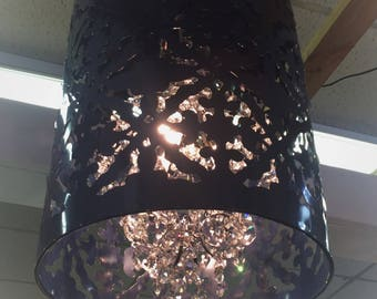 Navy Crystal Chandelier. Farm House Savy!  Custom color available...