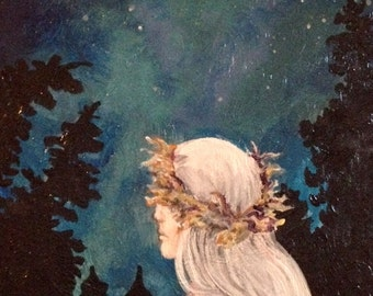 The Wanderer Forest Night Scenic Fantasy Painting 8x8 inches Art by Amanda Christine Shelton