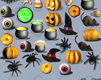 3D Witchy Halloween Clipart Collection