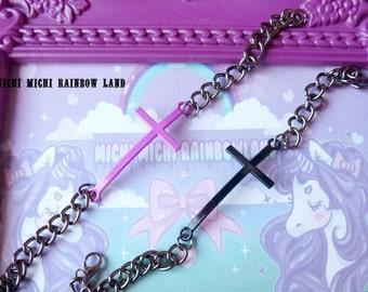 SALE! Pastel Goth Cross Bracelet