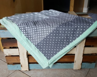 Gender Neutral Grey and Mint Baby/Toddler Blanket