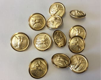 12 Vintage Gold brass Eagle Military Buttons 1 dozen