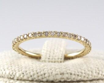 Thin Diamond Full Eternity Band 14K Solid Gold, Champagne Diamond Ring, Cognac Diamond Wedding Band
