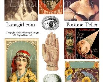 FORTUNE TELLER digital collage sheet, GYPSY vintage images women palmistry crystal ball occult magic altered art printable ephemera Download