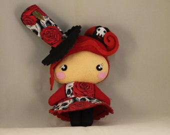 Doll / Hat / Black and Red / Skull / Kawaii / Gothic