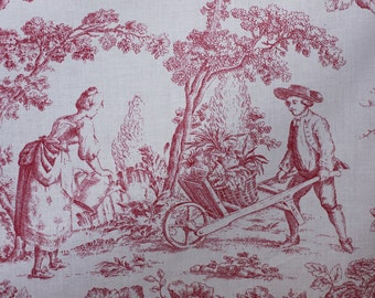 Toile Fabric, Cventry Red, For Drapery, Bedding, Upholstery, Wall Covering,