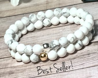 AAA White Howlite Beaded Bracelet, Beaded Bracelet Set, Bead Bracelets Women, Bracelets for Women, 6mm, DreamCuff Jewelry, Free Shipping