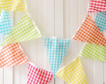 Gingham Banner, Bunting, Fabric Pennant Flags, Lime, Blue, Red, Orange, Yellow, Wedding Garland, Baby Shower, Nursery Decor, Birthday Party