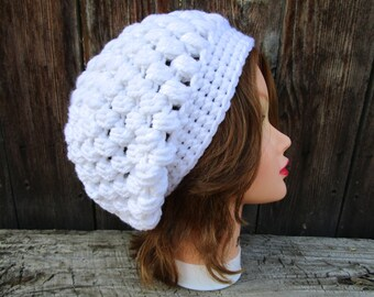 Women's Slouchy Hat, Crochet Beanie Hat, Winter Hats For Women, White Hat, Crochet Slouchy Beanie, Chunky Crochet Hat, Women's Hat