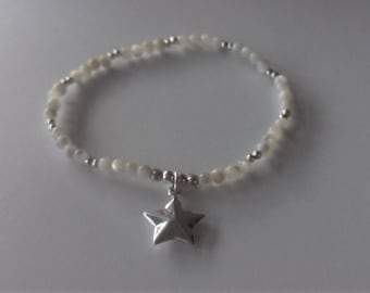 sterling silver bead bracelet, mother of pearl bracelet, sterling silver heart bracelet, gemstone bracelet, wedding gift