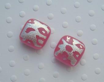 Pink Earrings - Dichroic  Fused Glass Earrings - Stud Earrings - Post Earrings -Glass Earrings - Small Post - Bohemian Earrings - Boho 1307