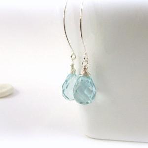 Teardrop Earrings  Sterling silver Earrings.  Aquamarine Earrings.  Made in Maine.  Drop earrings.  Silver drop earrings. Dangle earrings