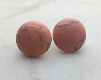 Imitation pink marble stud earrings. 14mm with surgical steel and nickel free posts.