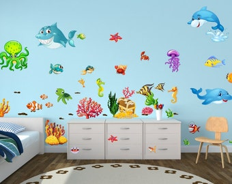 059 Walltattoo underwater fish dolphin shark coral octopus sea water * nikima * in 6 verse. Sizes