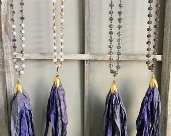 Purple Boho Sari Silk Tassel Necklace