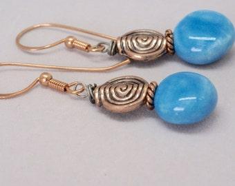 Robin Egg, Blue Earrings, Pretty Blue Jewelry, Copper Jewelry, Casual Copper Earrings, Geometric Earrings, Ceramic Earrings, Round Earrings