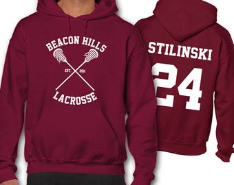 Stilinski Stiles 24 Teen Wolf Lacrosse Hoodie Hooded Sweatshirt Gift Present Beacon Hills All Sizes: Unisex Men's Ladies' Children's