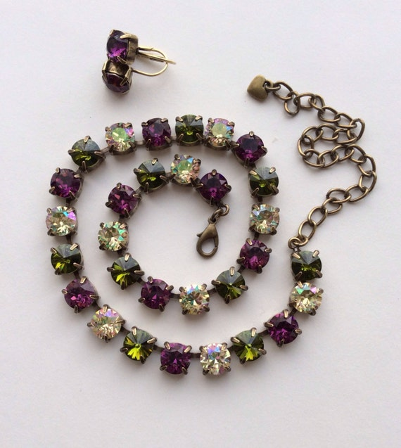 """Swarovski Crystal 8.5mm Necklace  Sister Necklace to  """"Medieval Renaissance"""" - Amethyst, Olive & Luminous Green - FREE SHIPPING"""