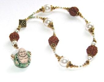 Meditation Beads, Rudraksha Beads & White Pearls, Ceramic Buddha Figure