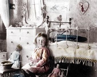 vintage photo little Girl Victorian Bedroom photo print folk art dolls little girls room home decor