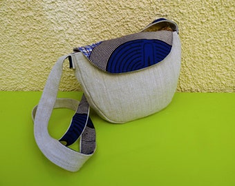 "Small Messenger bag in linen and long shoulder strap ""Safari"" wax"