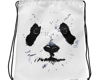 Panda White Face Drawstring Backpack/Bag cute Panda backpack, school backpack, yoga bag, fashion bag, cute panda bag, beach bag, panda love