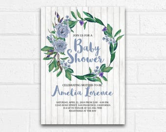 Blue Rustic Baby Shower Invitation - Digital Downloadable Customizable Personalized Boy Girl