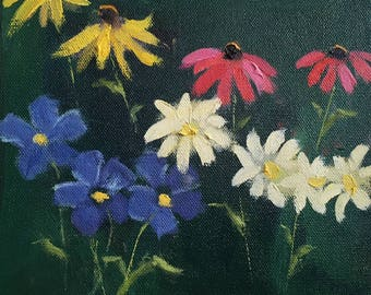 """Original oil painting of summer flowers, yellow pink red and blue flowers, garden landscape, impressionistic, 8"""" x 8"""" , on stretched canvas"""
