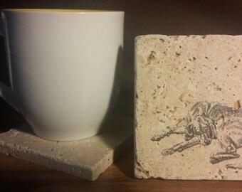 Set of 4 Bloodhound Travertine Stone Coasters