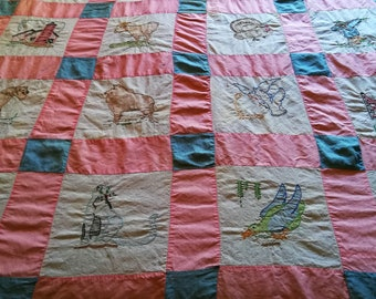Wonderful hand stitch and embroidery quilt top