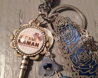 Door keys, snap - I love you MOM - 20mm - blue glass cabochon