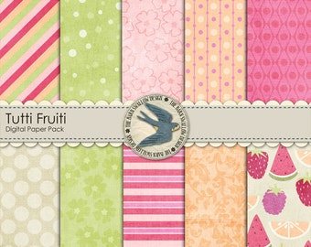 "Digital Scrapbook Paper Pack for summer - Tutti Fruiti - 10 digital papers 12"" x 12"" Instant Download"