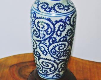 Celadon And Cobalt Vase, Porcelain Vase With Stand, Urn Shape Vase